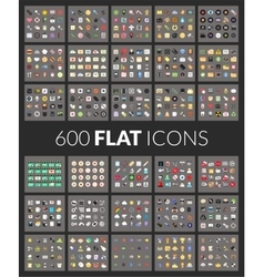 Large icons set 600 pictogram of flat vector