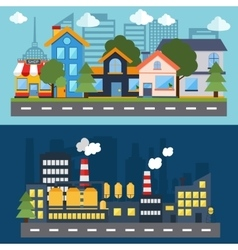 Set of color urban landscape and city life banners vector
