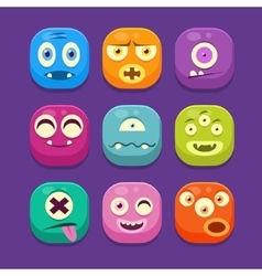 Monster web icons colourful vector