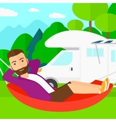 Man lying in hammock vector