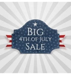 Big 4th of july sale badge with ribbon vector