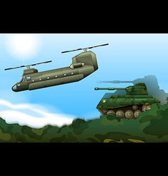 A military tank and a helicopter vector