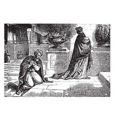 A pharisee and a publican pray in the temple vector