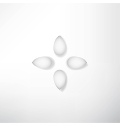 Abstract white flowers with shadows vector