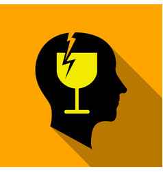 Alcoholic brain icon flat style vector