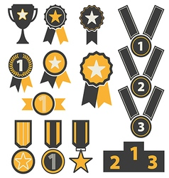 Award icons set vector image