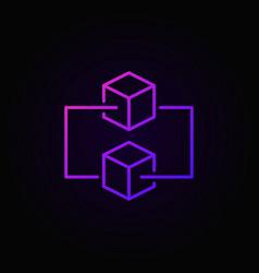 blockchain colored outline icon on dark vector image
