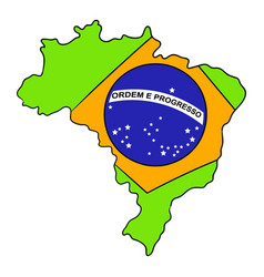 brazil map and flag icon cartoon vector image vector image