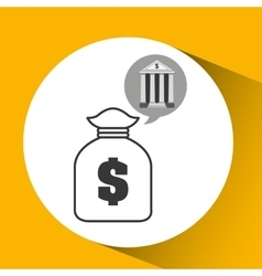 Building bank economy bag money vector