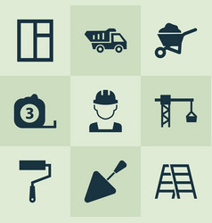 Building icons set collection of truck spatula vector