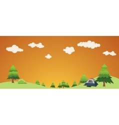 Camping holiday concept with bush and landscape vector