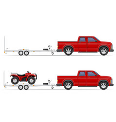 car pickup with trailer 03 vector image vector image