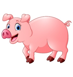 Cartoon happy pig vector