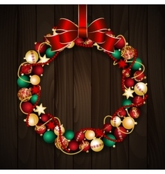 Christmas wreath decoration vector image