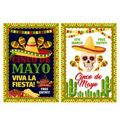 Cinco de mayo mexican holiday card of fiesta party vector