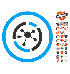 connections diagram icon with love bonus vector image vector image