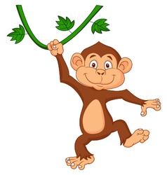 Cute monkey cartoon hanging vector