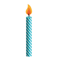 Decorative birthday candle isolated icon vector