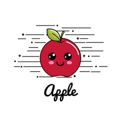 Emblem kawaii happy apple icon vector