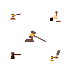 Flat icon hammer set of court hammer government vector