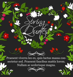 Floral poster for spring quotes design vector