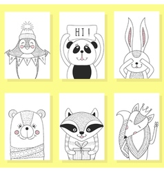 Funny animals cartoon children Greeting card vector image