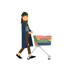 Homeless woman pushing shopping cart with her vector