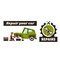 Horizontal banner template on car repairs repair vector