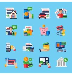 Loan Debt Flat Color Icons Set vector image vector image