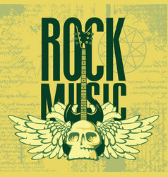 music banner with electric guitar wings and skull vector image vector image