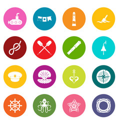 nautical icons many colors set vector image vector image