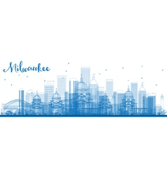 Outline milwaukee skyline vector