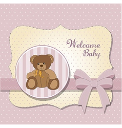 Romantic baby girl announcement card with teddy vector