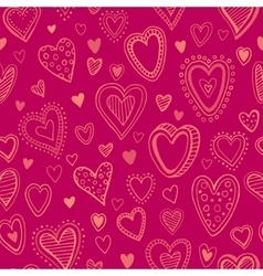 Seamless pattern with valentine hearts vector image