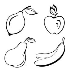Set fruits black contours vector image