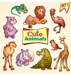 set of cute animals Lion rhino giraffe vector image vector image