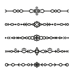 Set of divider ornaments ethnic separator style vector