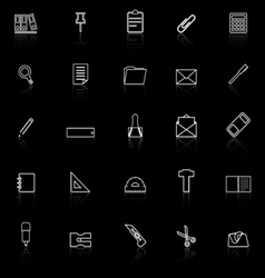 Stationery line icons with reflect on black vector image vector image