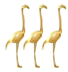 Three Golden birds flamingos on a white background vector image