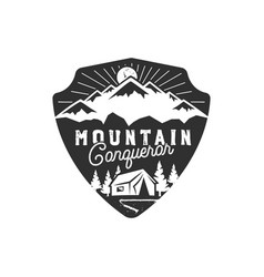 traveling outdoor badge mountain conqueror vector image