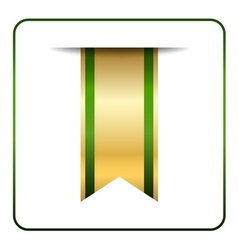 Green gold bookmark isolated vector
