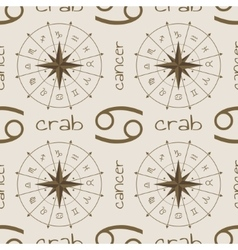 Astrology sign crab seamless pattern vector