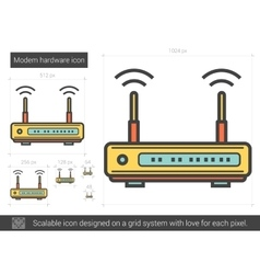Modem hardware line icon vector