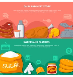 Dairy meat sweets pastries food banners vector