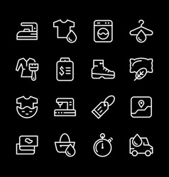 Set line icons of laundry vector