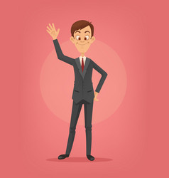 happy smiling businessman character waving hand vector image