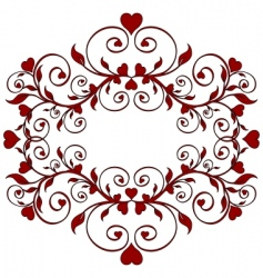 Red floral ornament with hearts vector