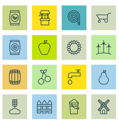 set of 16 planting icons includes windmill vector image