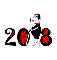 Dog with hat and cane as symbol 2018 isolated vector