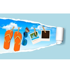 Flip flops sunglasses and photo cards hanging on a vector